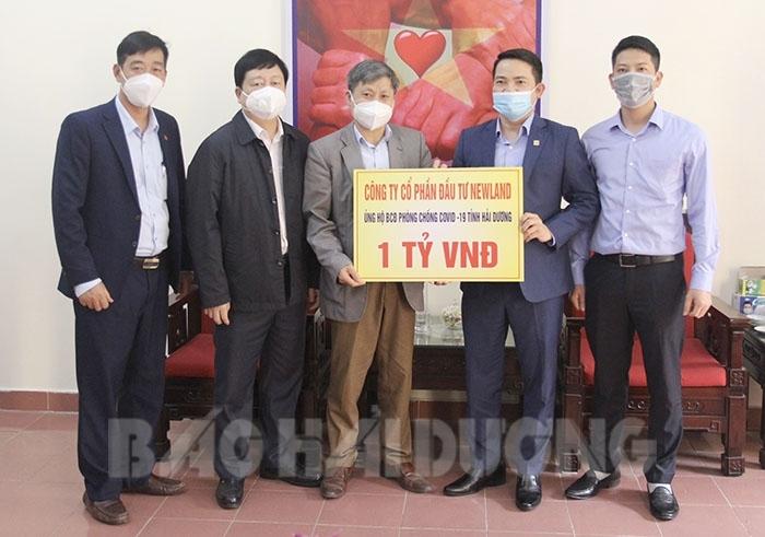 Công ty CP Đầu tư Newland ủng hộ Quỹ Phòng chống dịch Covid-19 tỉnh Hải Dương.